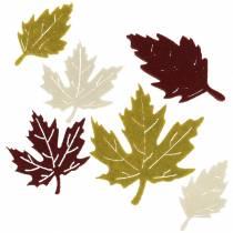 Hajanaiset syksyn lehdet huopa bordeaux / kerma / vihreä 72kpl