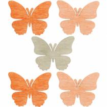 Scatter koriste perhonen puiset perhoset kesäkoriste oranssi, aprikoosi, ruskea 144kpl