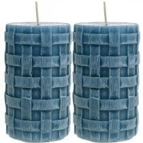 Pilarikynttilät sininen, vahakynttilät maalaismainen, kynttilät kudontakuvio 110/65 2kpl