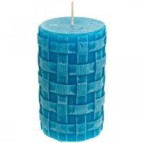 Pilarikynttilät Rustic, kynttilät korikuvio, vahakynttilät turkoosi 110/65 2kpl