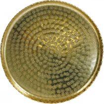 Metallitarjotin pyöreä, dekolautanen kultainen, itämainen deko Ø30cm