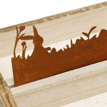 Koristetarjotin pääsiäisniitty, kevätkoriste, puinen tarjotin ruostumatonta terästä 35×15cm