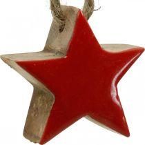 Puinen tähti joulukuusen koristelu punainen, luontokoriste tähdet 5cm 24kpl 24kpl
