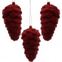 Koristekävyt, syyskoriste, kuusenkävy punainen, Adventti H8,5cm Ø4,5cm 8kpl.