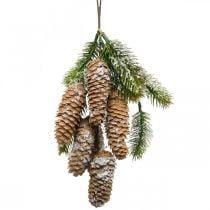 Kuusivihreää käpyjen kanssa, talvikoriste, kuusen oksa ripustettavaksi, käpy koristelu luminen L33cm