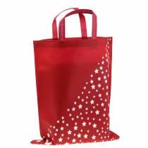 Kangaskassi punainen tähdillä 38cm x 46cm 24kpl