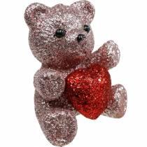 Koristetulppa karhu sydämellä, ystävänpäivä, kukka tulppa glitter 9kpl