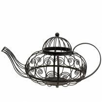 Koristeellinen teekannu vaahtokuppimetalli tummanruskea Ø28cm K24cm