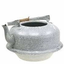 Istutuskoneen teekannu sinkkiharmaa, valkoinen pesty Ø26cm H15cm