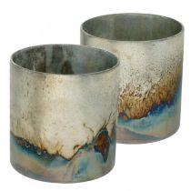 Teelamppupurkki, kynttilänpidike, lasinen lyhty antiikkilook Ø10cm K10,5cm 2kpl.