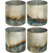 Kynttiläpurkki, koristeellinen lyhty, pöydän koriste antiikkilook Ø9,5cm K10cm 4kpl.