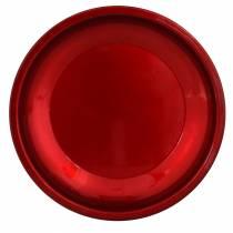Koristeellinen metallilautanen punainen lasitefektillä Ø23cm