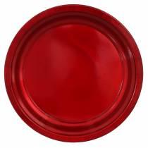 Koristeellinen metallilautanen punainen, lasite-efektillä Ø38cm