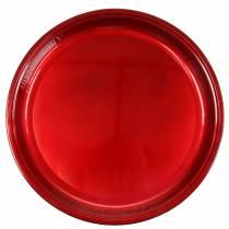 Koristeellinen metallilautanen punainen lasitefektillä Ø50cm