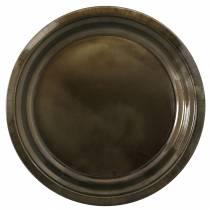 Koristeellinen metallilevy pronssi lasitefektillä Ø30cm