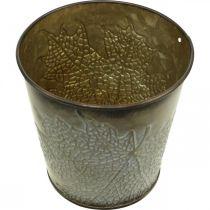 Syksyinen istutin, Metalliruukku lehvillä, Cachepot Golden Ø10cm H10cm