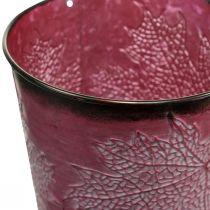 Koristeellinen ruukku istutukseen, peltisanko, metallinen deko, jossa on lehtikuvio viininpunainen Ø14cm K12,5cm