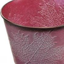 Kasvi ruukku lehtien koristeella, syksyn koriste, Metalli kasvipannu viininpunainen Ø16,5cm H14,5cm