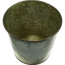 Deco ämpäri lehdillä koristeltu, syksyn ruukku, metalli Deco vihreä Ø17cm H14,5cm