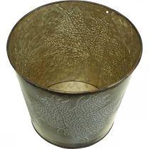 Syksyn peltikaukalo, Peltikauha, jossa on lehtikoriste, metalliastia kultainen Ø14cm H12,5cm
