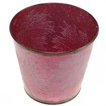Istutusastia, Metalliämpäri lehdillä, syksyn koriste Viininpunainen Ø18cm K17cm