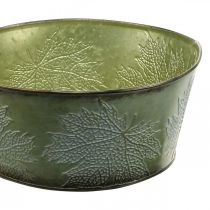 Istutusastia vaahteranlehdillä, syksyn koriste, metalliastia vihreä Ø25cm H11cm
