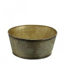 Syksyn kulho, Metalliruukku, jossa on lehtidekori, Kasviruukku Kultainen Ø25cm H10cm
