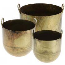 Kukkaruukku antiikkisen näköinen kukkaruukku kahvoilla Metalli H17/19,5/26cm 3 kpl sarja