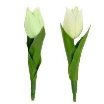 Kevätkoriste, keinotekoiset tulppaanit, silkkikukat, koristeelliset tulppaanit vihreä / kerma 12kpl