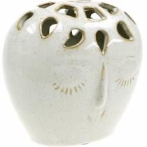 Keraaminen maljakko, jossa on kasvot kerma, beige H13cm kivitavaraa Look 1kpl