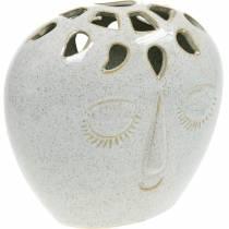Maljakko, jossa kasvot kerma, beige H18cm kivitavaraa Optics 1kpl.