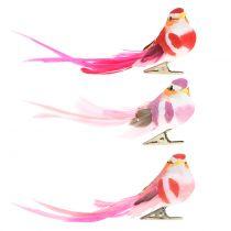 Lintu kiinnikkeellä vaaleanpunainen, vaaleanpunainen 15cm 12kpl