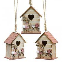 Riippuva linnunpönttö, kevät, koristeellinen linnunpönttö pupulla, pääsiäiskoriste 4kpl.