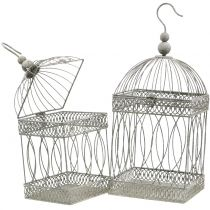 Bird aviary vintage kulmikas harmaa 21 / 17cm 2kpl