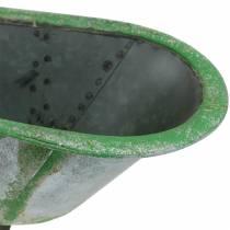 Koristeellinen kylpyamme metallia käytetty hopea, vihreä 44,5 cm x 18,5 cm x 15,3 cm