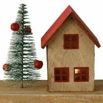 Joulukylä LED-valaistuksella luonnonvärinen, punainen puu 40 × 10,5 × 7cm