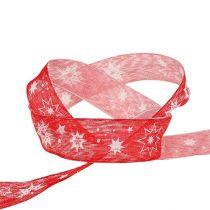 Joulunauha punainen tähtikuvioilla 25mm 20m