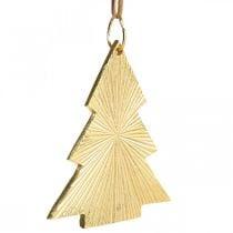 Joulukuusi metalli kulta 8x10cm ripustaa 3kpl.
