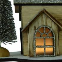 Joulutalo luonnonmukaisella LED-valaistuksella, kimaltelevaa puuta 20 × 17 × 15cm