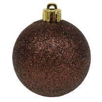 Joulupallot suklaanruskea sekoitus Ø6cm 10kpl