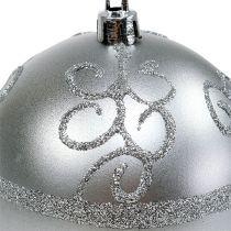 Joulupallo hopea Ø8cm muovi 1kpl
