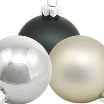 Mini Christmas Bauble, Tree Decoration Mix, Advent Decoration Black/Silver/Pearl H4,5cm Ø4cm Real Glass 24kpl.