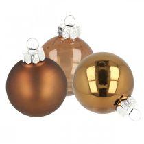 Joulupallot, kuusenkoriste mix, minijoulukuusipallot ruskea H4,5cm Ø4cm aitoa lasia 24kpl.