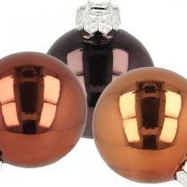 Joulukuusenkoristeet, joulupallot, kuusipallo mix ruskea H4,5cm Ø4cm aitoa lasia 24kpl.