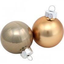 Sekoitus kuusenkoristeita, joulupalloja, minikuusen riipuksia Kultainen/ruskea/Päärynä/Beige H4,5cm Ø4cm aitoa lasia 24kpl.