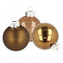 Joulukuusen koristeet, kuusen pallot, joulukoristeet Ruskea H8,5cm Ø7,5cm aitoa lasia 12kpl