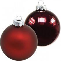 Joulupallo, joulukuusen koristelu, lasipallot viininpunainen H8,5cm Ø7,5cm aitoa lasia 12kpl.