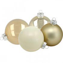 Joulukuusen pallot, kuusenkoristeet, lasipallot valkoinen/helmi H8,5cm Ø7,5cm aitoa lasia 12kpl.