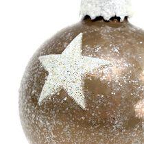Tähtikuvion joulupallolasi vaaleanruskea Ø6cm 6kpl