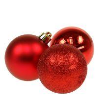 Joulupallo muovi punainen 6cm 10kpl